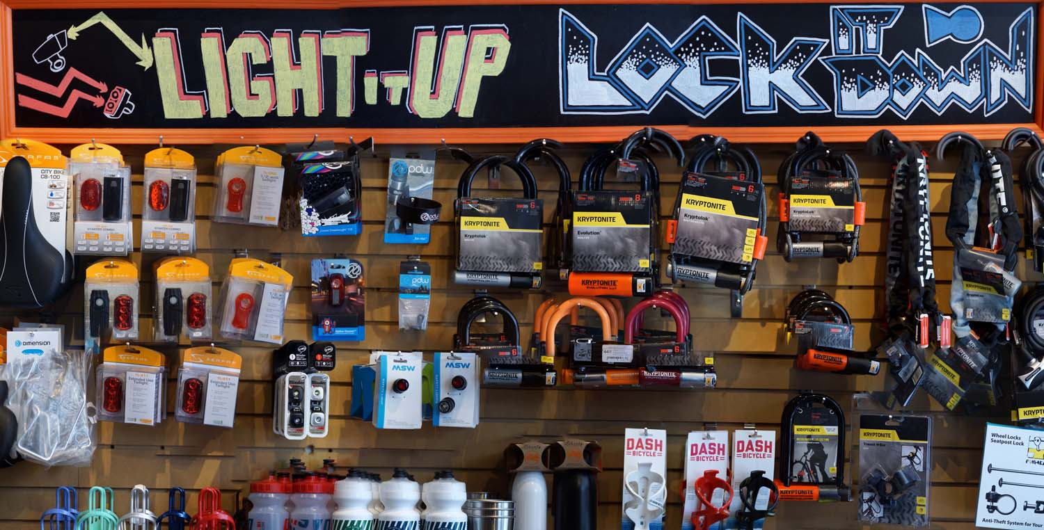 Bike Lights and Locks at Dash Bicycles, Providence